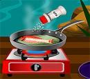 بازی دخترانه آنلاین فلش آشپزی پخت ماهی کبابی