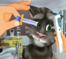 Talking Tom cat's eye treatment during games