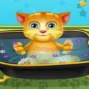 بازی حمام بردن گربه عروسکی سخنگو